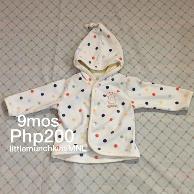 Preloved Carter's Hoodie 9 Months Baby Boy Or Baby Girl Clothes Giraffe Face with Too Cute