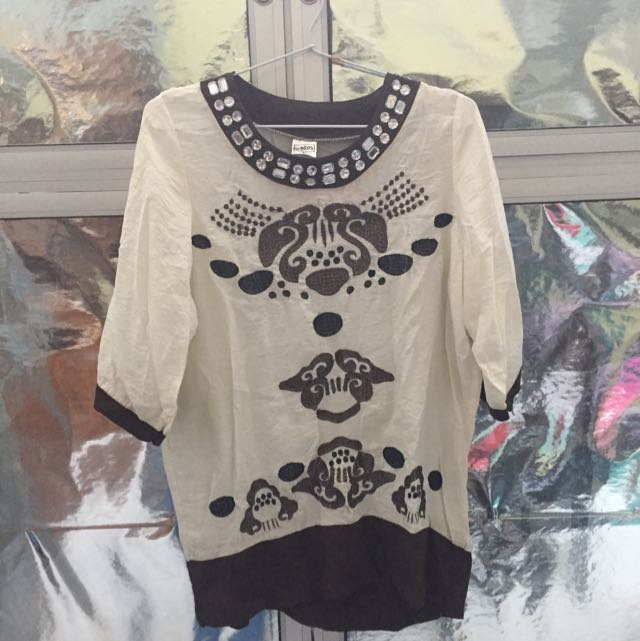 Preloved Ethnic Women Blouse With Rhinestones