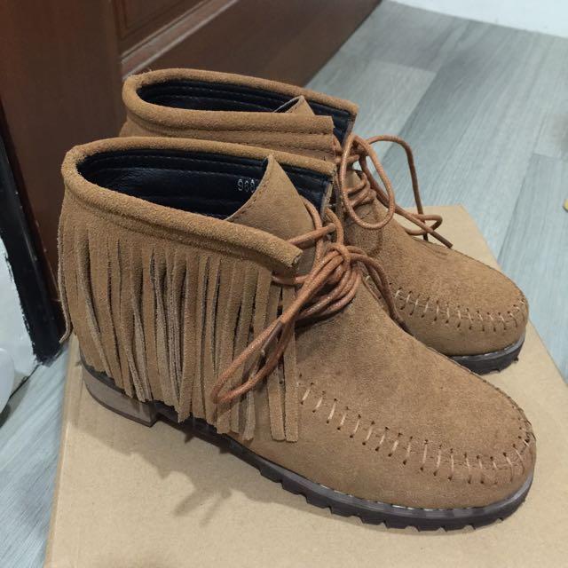 queen shop流蘇麂皮短靴