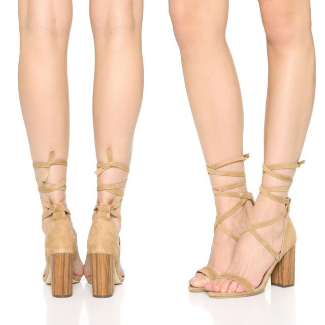 Raye Lace Up Tan Suede Heels Size 40 BNWT