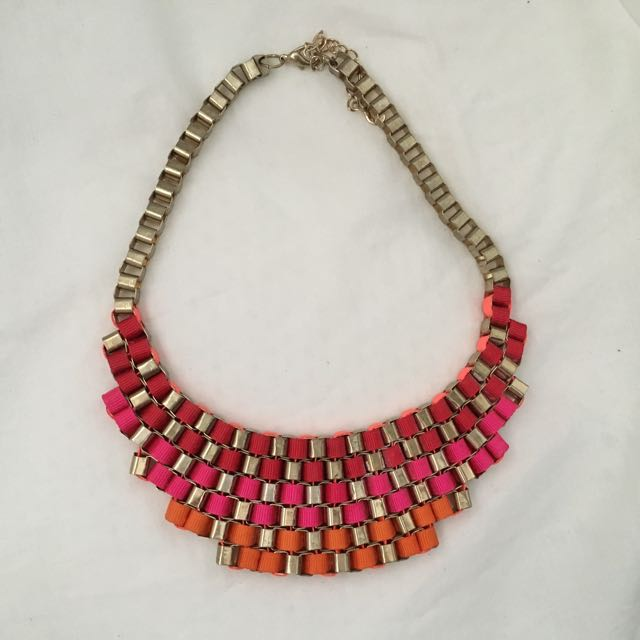 Red, Pink, Orange Metallic Necklace