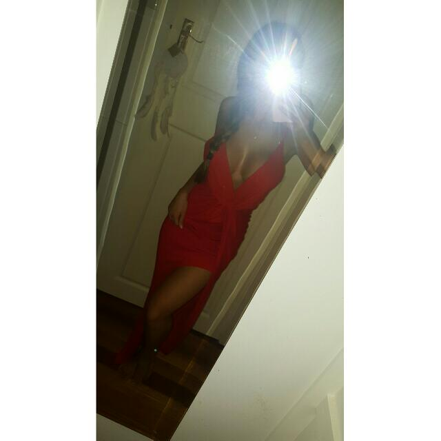 Red Sexy Long Dress With Slit