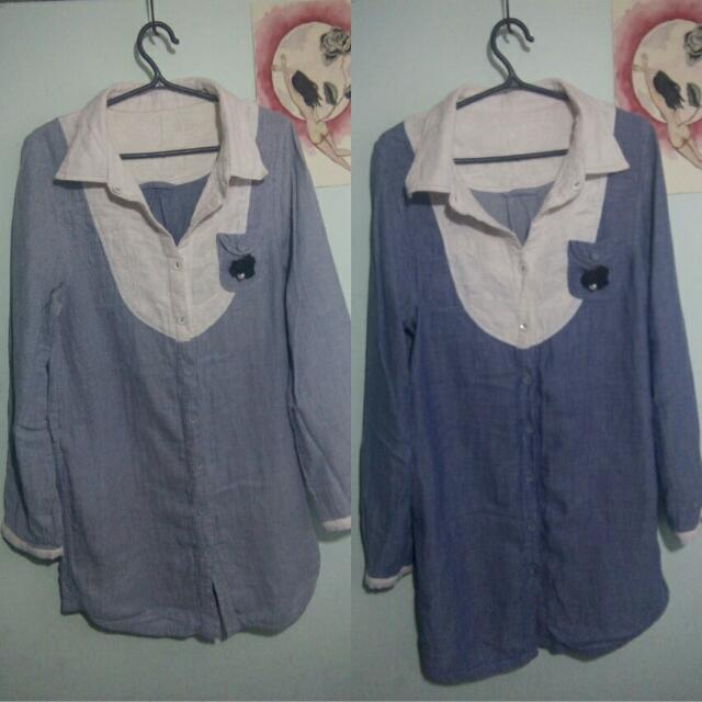 reversible blue denim-like long sleeved dress