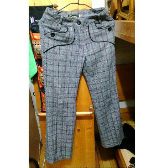 (降)格紋西裝褲S