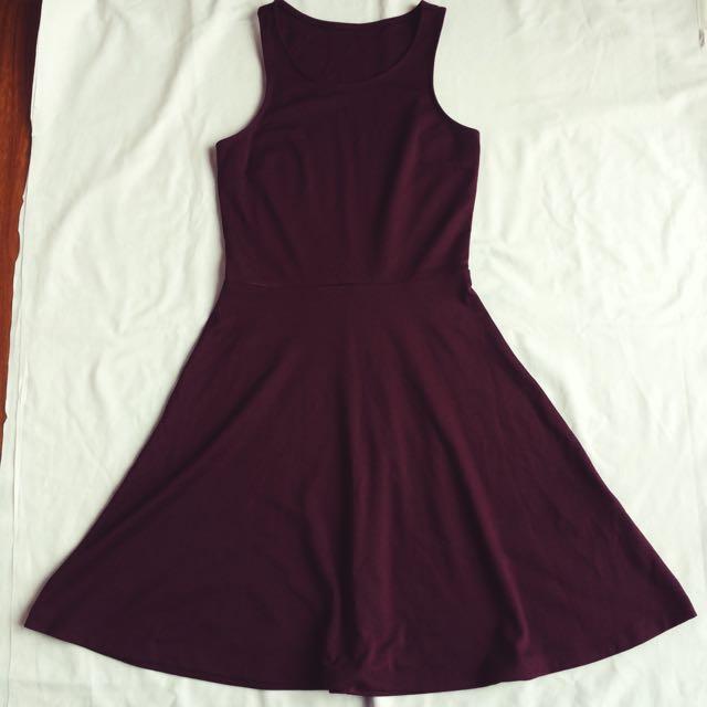 Semi Halter Burgundy Dress