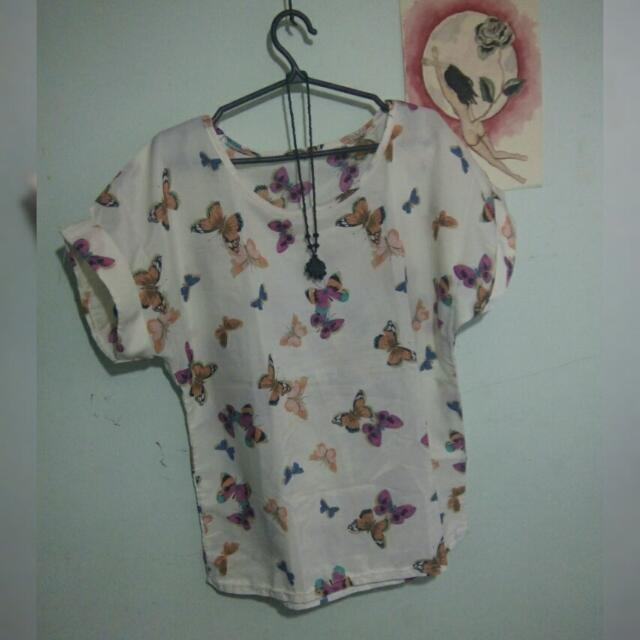 Semi see-through white floral blouse (size M)