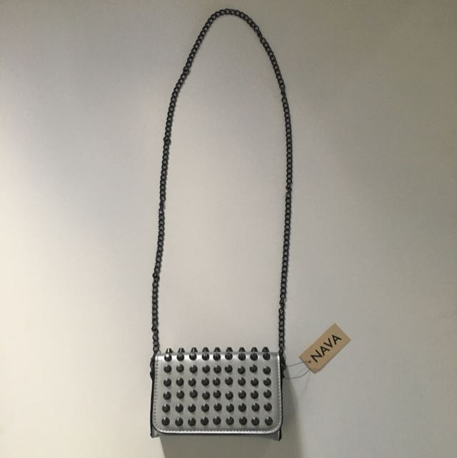 Silver Crossbody Bag Mini With Silver Metal Studs Flap