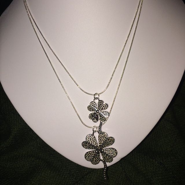 Silver Filled Four Leaf Clover Necklace & Earring Set