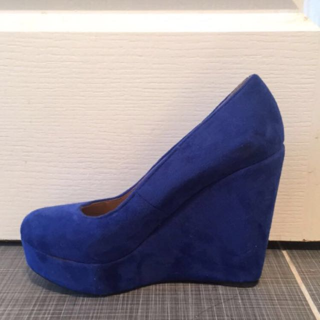 Suede High Heeled Blue Wedges