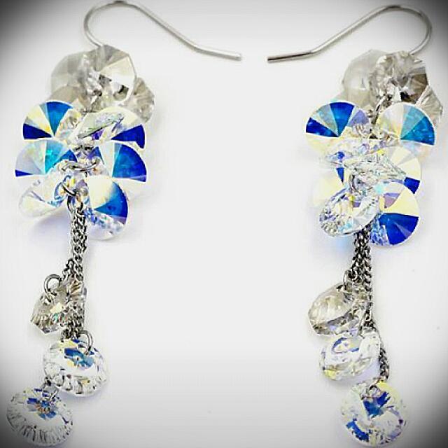 Swarovski Crystal & Silver Earrings.
