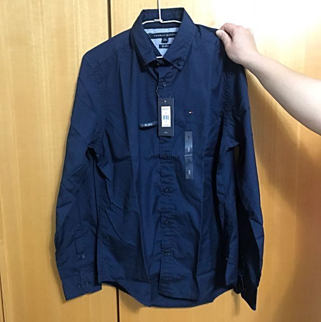 全新真品Tommy Hilfiger TH男衣 藍色 長袖襯衫 S號