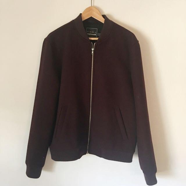Topman Burgundy Zip Up Jacket Size Large