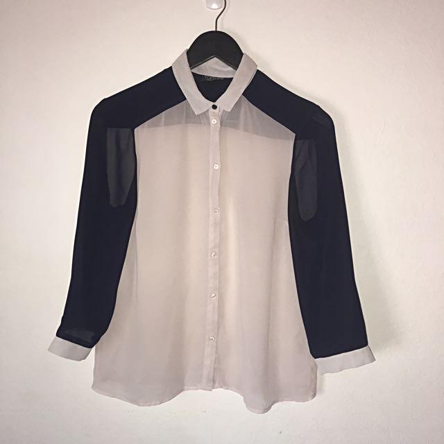 Topshop Navy And White UK 10 Chiffon Style Shirt