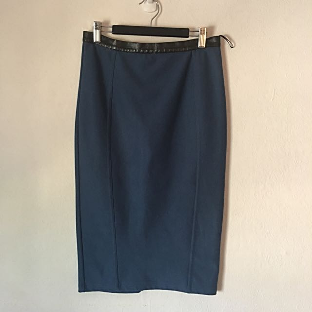Topshop UK 10 Skirt Blue With Faux Leather Trim.