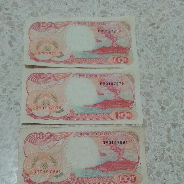 Uang Kertas Rp 100 Tahun 1992.. Nomor Seri Bagus...