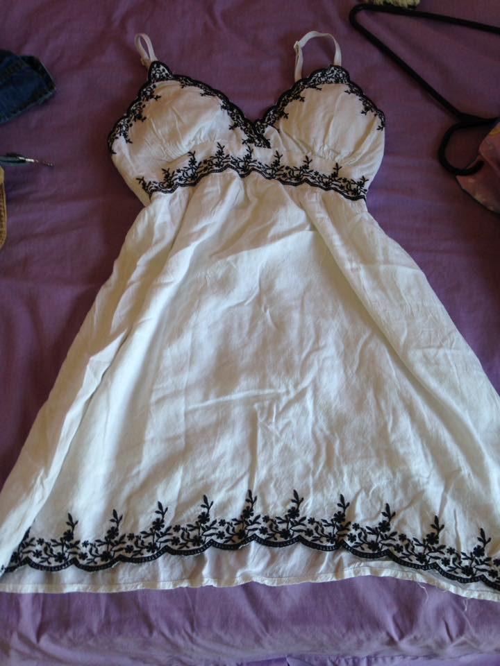 white dress with black detailing