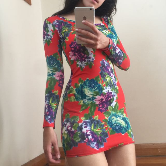 Women's Rose Print Longsleeve Dress