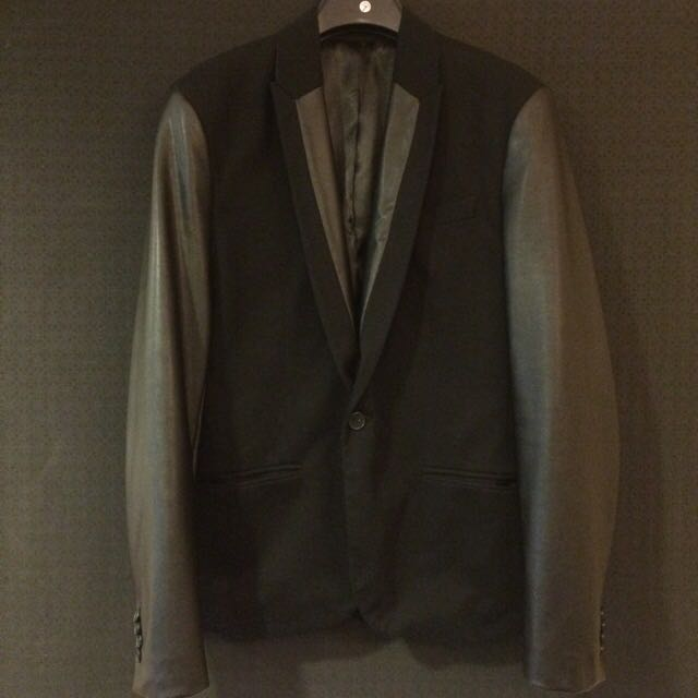 Zara Man Black Blazer Dark Leather 拼接 皮袖 西裝