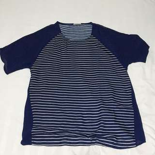 Navy Blue Stripes Loose Tee (No Brand)