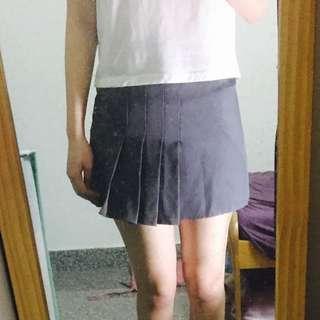鐵灰半百褶短裙