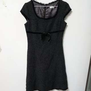 [售/換] 0918 專櫃品牌 冬季 蝴蝶結 毛呢 洋裝