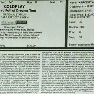 1 Coldplay ticket 01 April 2017 / CAT 3