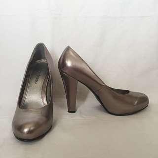 Grey Metallic Heels