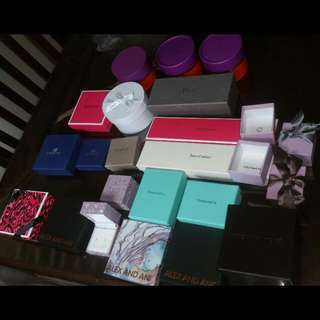Tiffany, Dior, Juicy Couture, Michael Kors, Kate Spade, Swarovski, Peoples, Michael Hill, Alex & Ani Boxes