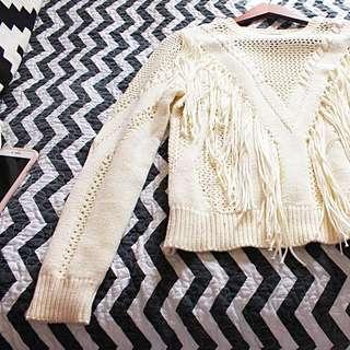 Forever 21 Beige Fringe Knit Sweater