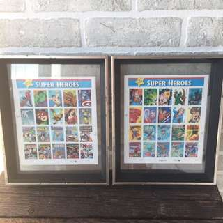 Framed DC And Marvel Comic Book Stamps