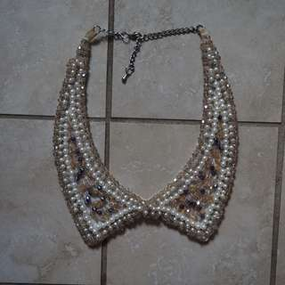 Hand beaded pearl necklace