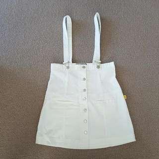 Bettina Liano White Denim Pinafore Size 10 USED