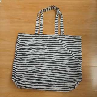 Bag Shopping Fabric Black And White Pattern As New