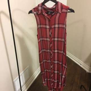 Long Sleeveless Plaid Dress
