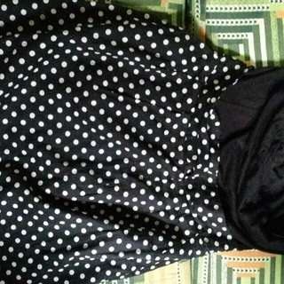 Black And Polkadot Mini Tube Dress