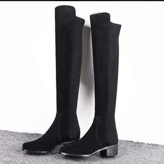 歐美時尚麂皮過膝靴