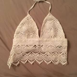White Crochet Backless Halter