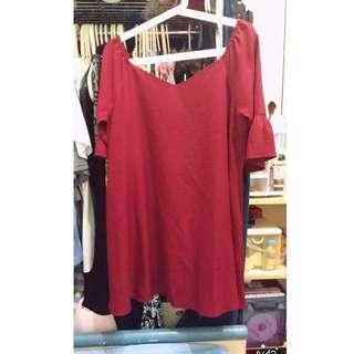 正韓雪紡V領小洋裝-深紅色#一百元洋裝