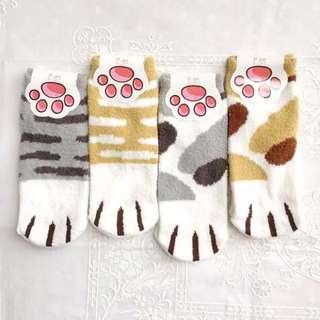 *全新*貓咪腳腳保暖珊瑚絨短襪 舒適 可愛貓腳