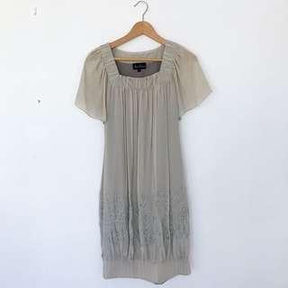 Bubble Hem Dress Grey