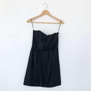 Nylon Flocks Black Strapless Mini Dress