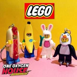 🚚 樂高 LEGO 兔子 兔兔 熱狗 香蕉 企鵝 鑰匙圈 鑰匙扣 玩具 吊飾 公仔