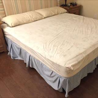 King Bed + Mattress + Headboard And Side Table