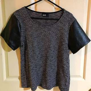 Knitted Top With Pleather Sleeves!