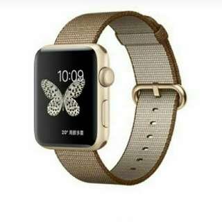 Apple watch 2 42mm 金色焦糖尼龍織紋錶帶