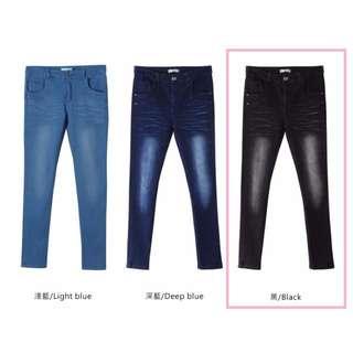 OB嚴選 後腰鬆緊刷色造型彈性修身窄管牛仔褲-黑色M #三百元牛仔