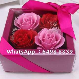 精美四朵香皂玫瑰花