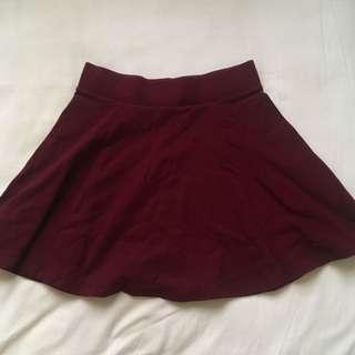 Forever 21 Maroon Skater Skirt