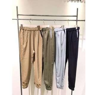 轉賣日貨連線cancan日本品牌專櫃POU DOU DOU 米棕色彈性質地打摺剪裁寬鬆哈倫褲 老爺褲 寬褲