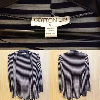 Stripes Cardigan Abuabu-Hitam